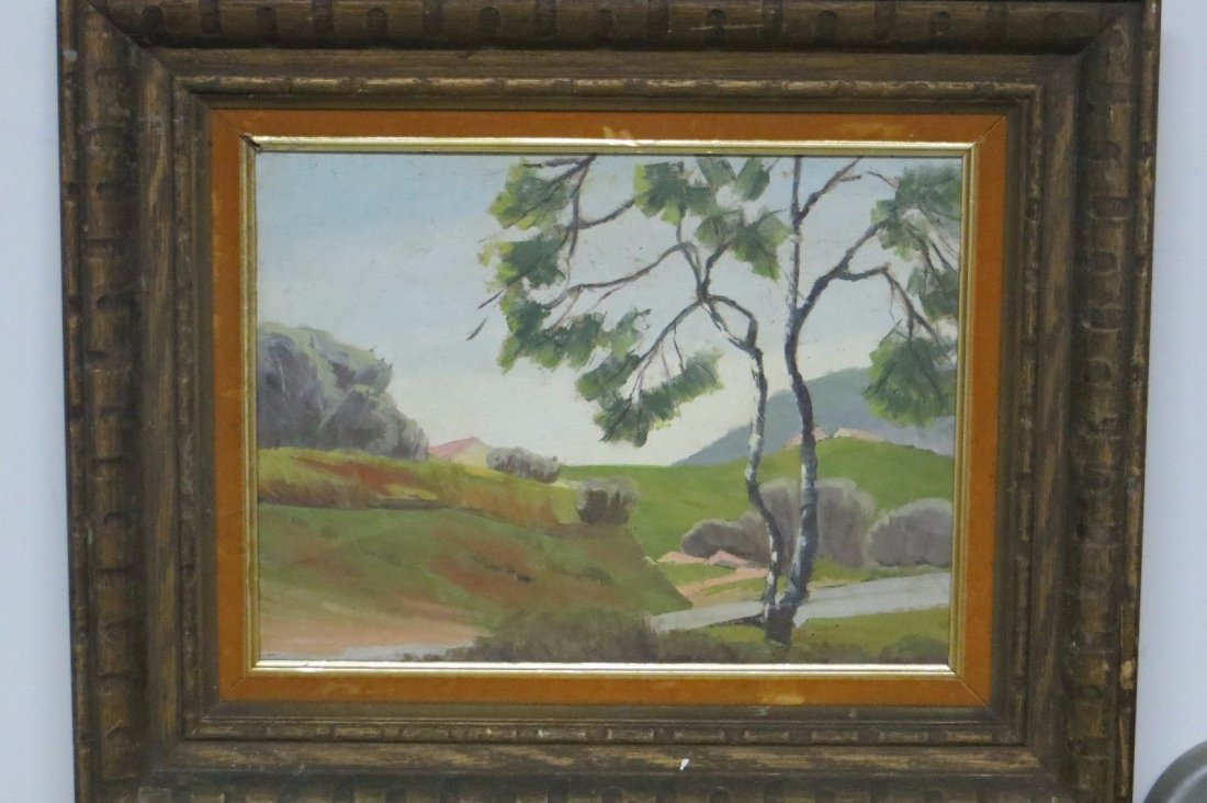 unsigned oil on canvas board painting