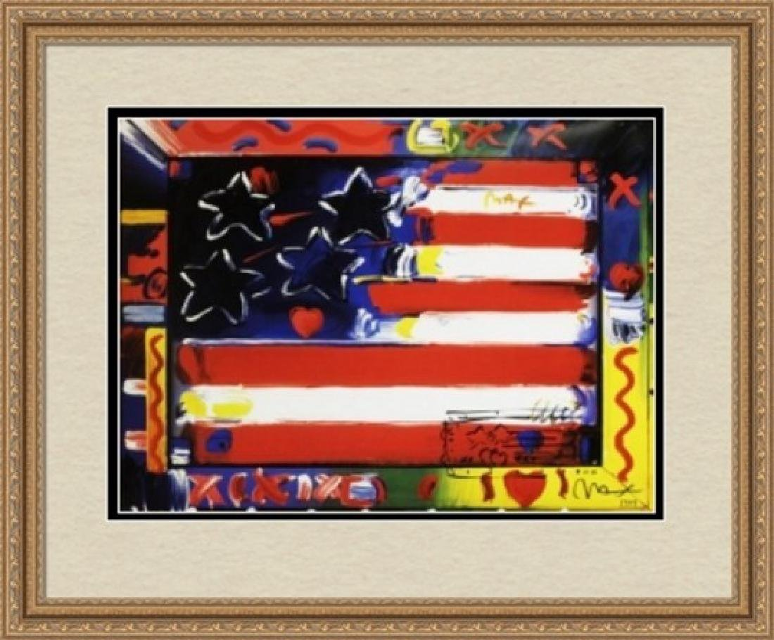 Hand Signed Mixed Media Peter Max - American Flag