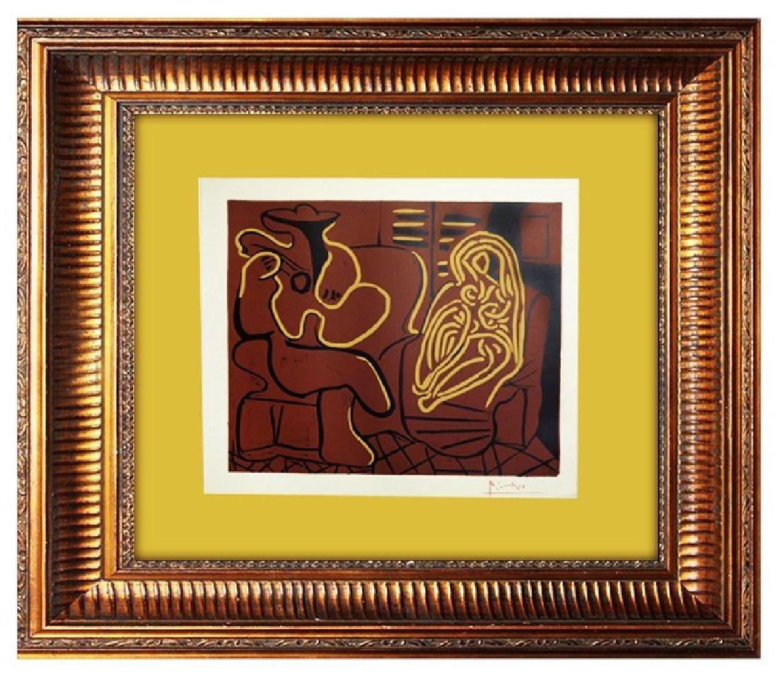 Fauteuil et Guitariste - Pablo Picasso Linocut