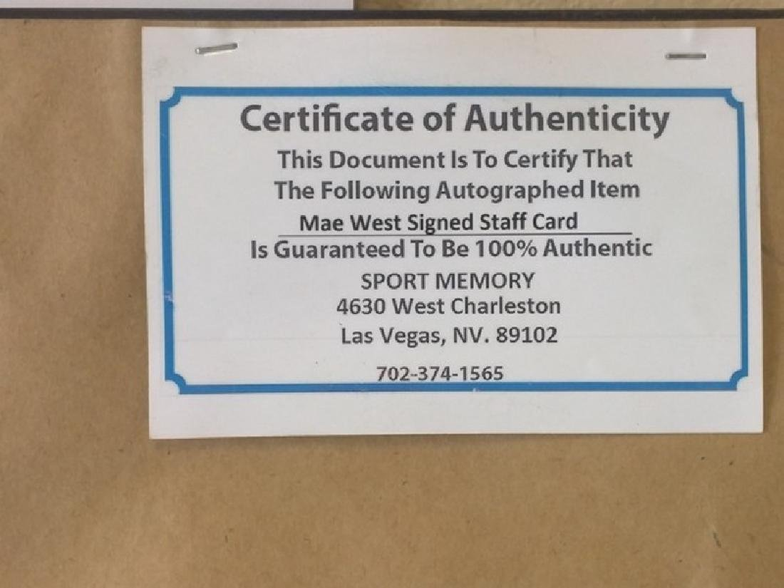 Mae West - Authentic Signed Staff Card - 6