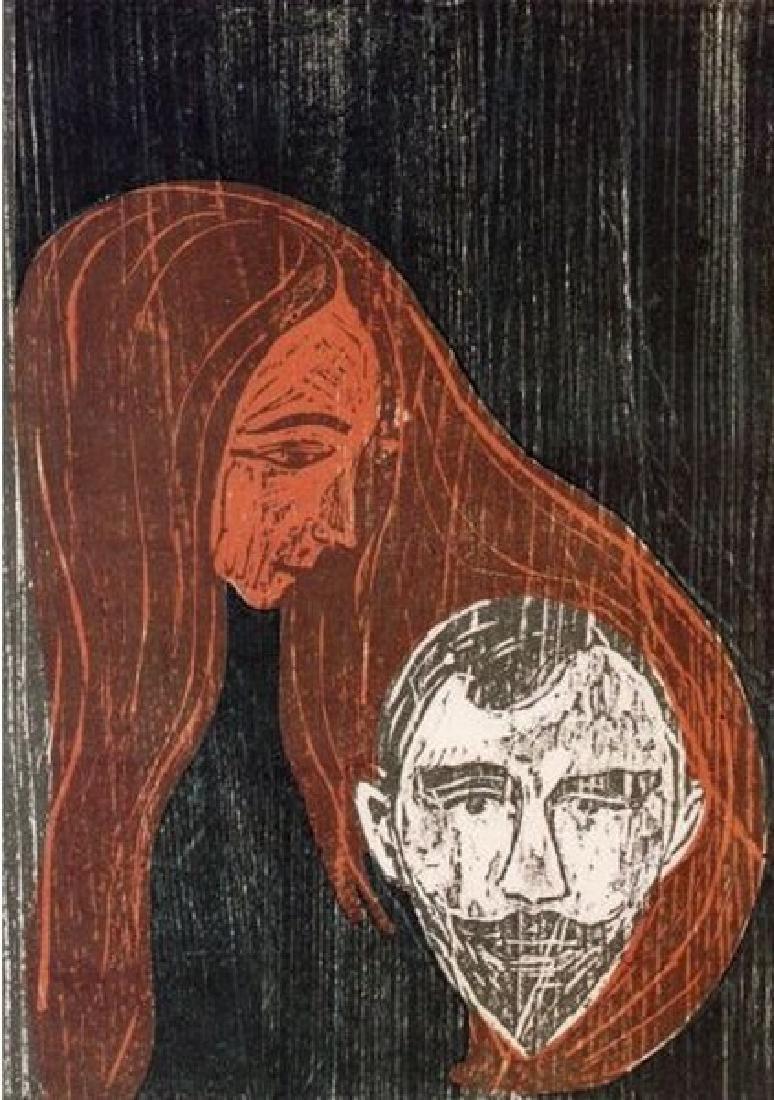 Man's Head in Womans Hair - Edvard Munch