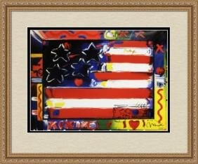 Hand Signed Peter Max Mixed Media - Flag with Heart