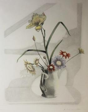 Floral  IV - Hand Colored Etching