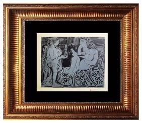 Signed Picasso Linocut Deux Femmes