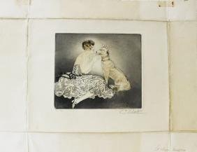 Woman with Dog - Ceaser Vilot Etching