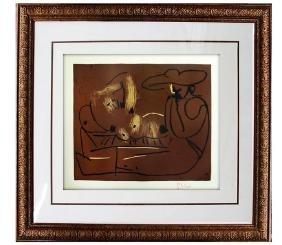 Signed Picasso Linocut Femme Couche et Homme