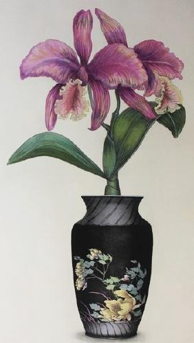 Floral  III - Hand Colored Etching