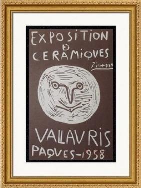 Signed Picasso Linocut Exposition Ceramiques Vallaruis