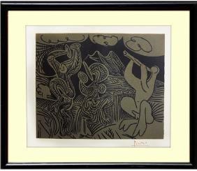 Signed Picasso Linocut Danseurs et Musicien