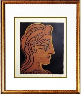 Signed Picasso Linocut Tete de Femme
