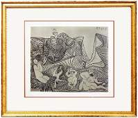 Signed Picasso Linocut Bacchanale au Hibou