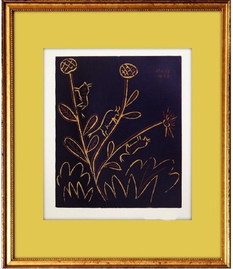Signed Picasso Linocut Bull Flower