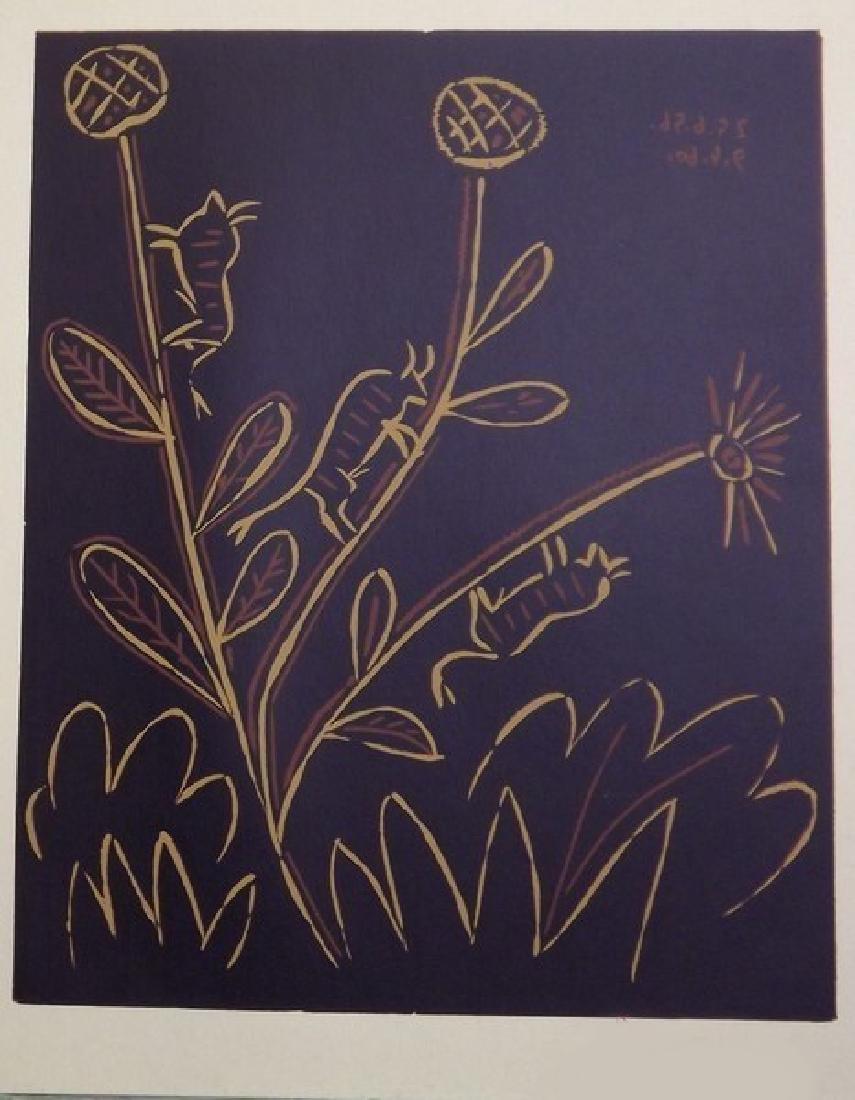 Signed Picasso Linocut Bull Flower - 2
