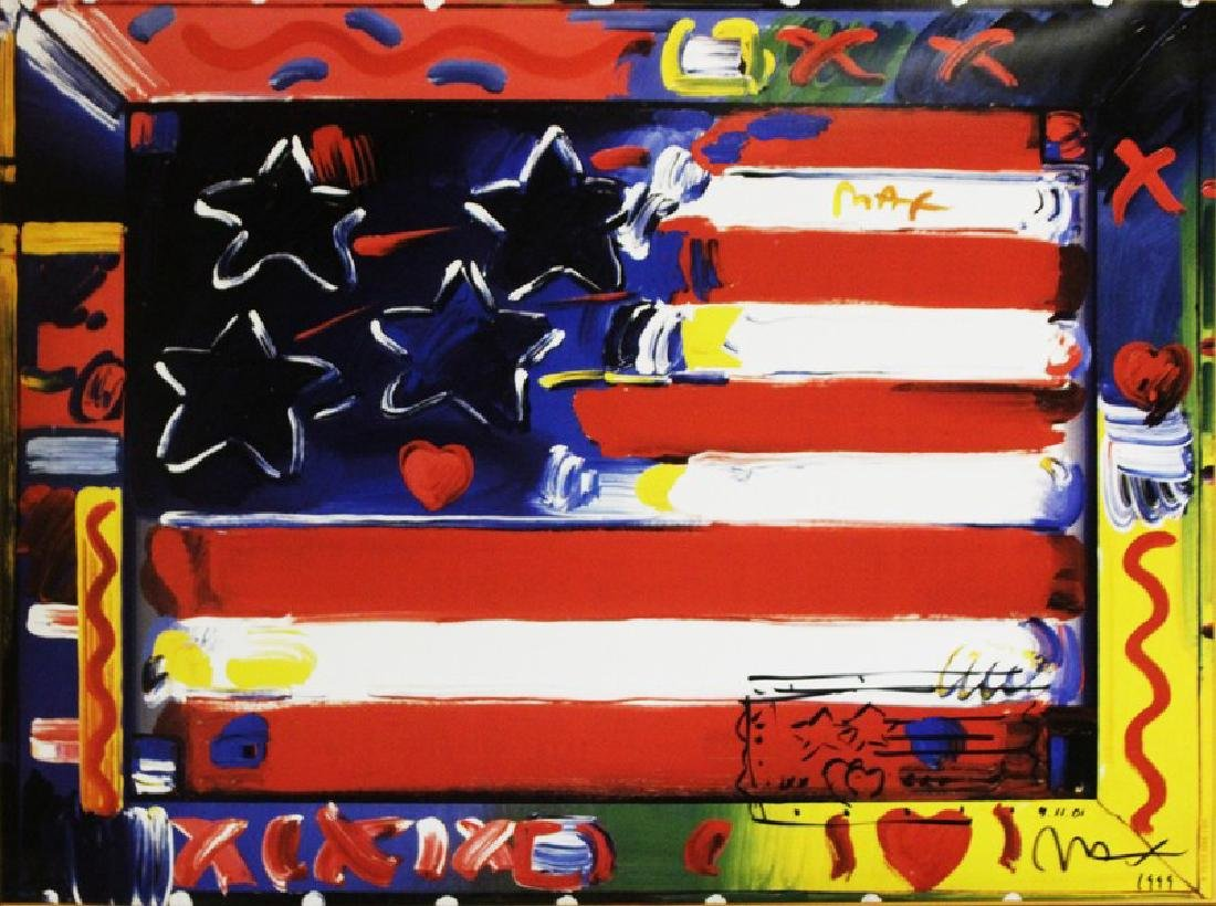 Hand Signed Peter Max Mixed Media - Flag with Heart - 2