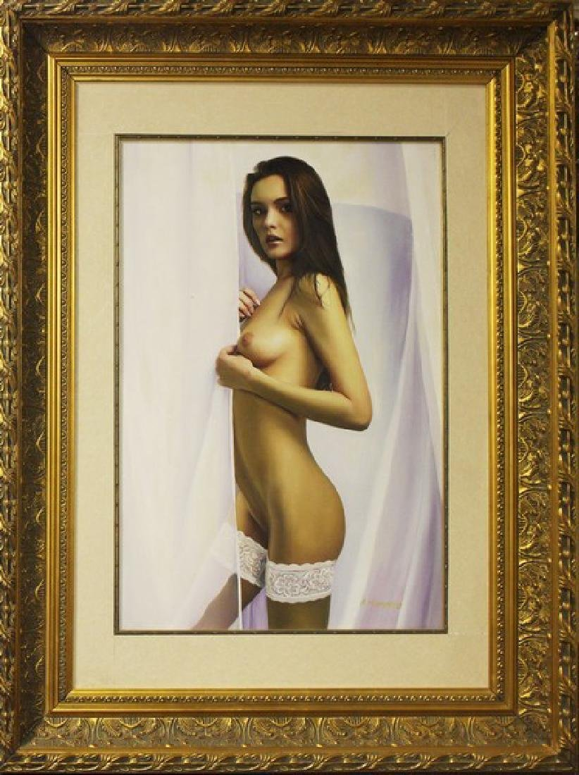 Nude with White Leggings, Oil 54x40