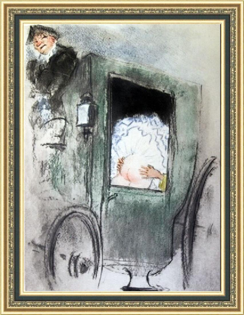 Original Etching Louis Icart - In The Coach