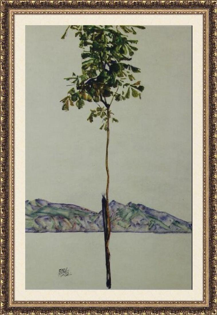 Lithograph Egon Schiele - Tree at Lake Constance