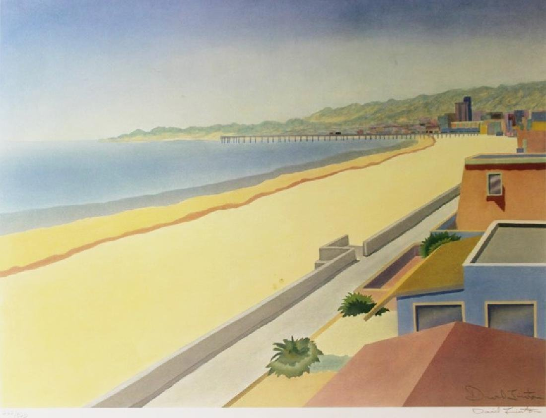 Hand Signed Lithograph David Linton - Beach Side