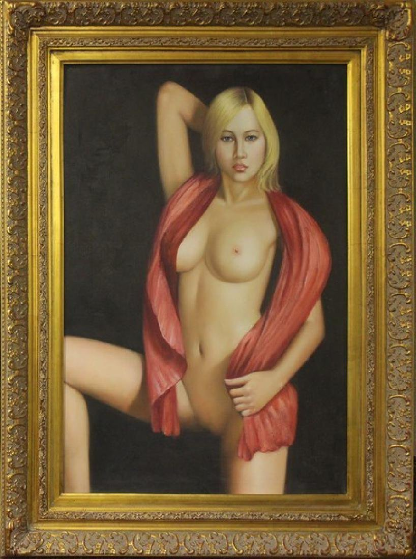 Nude Blonde with Red Scarf, Oil 45x33