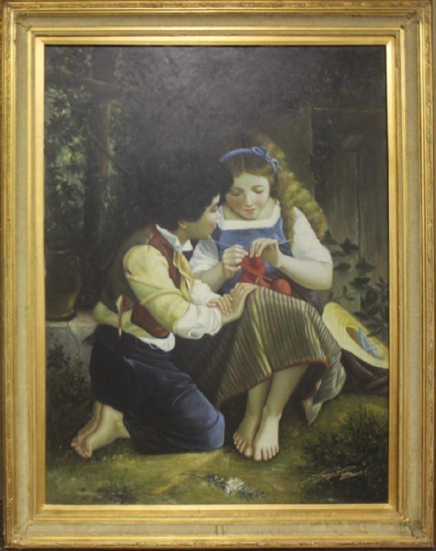 Sewing a Sock - Original Painting