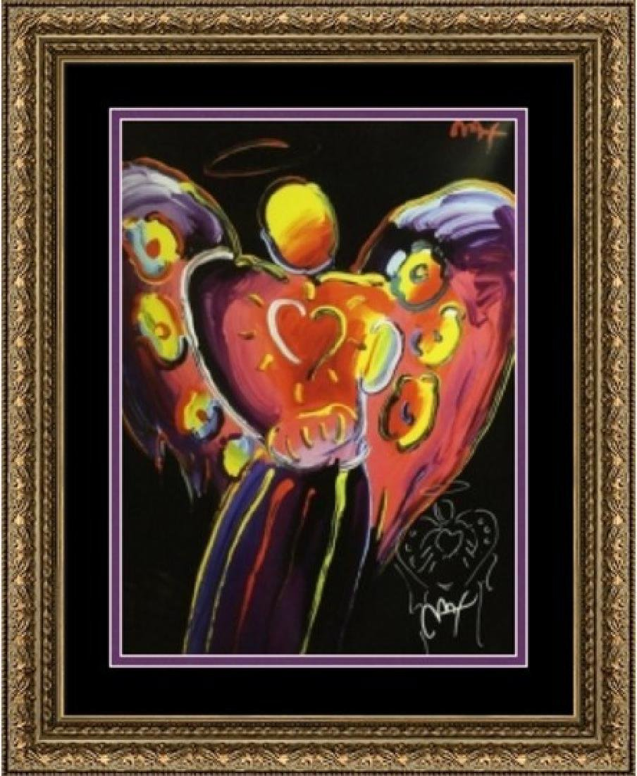 Hand Signed Peter Max Mixed Media - Black Angel