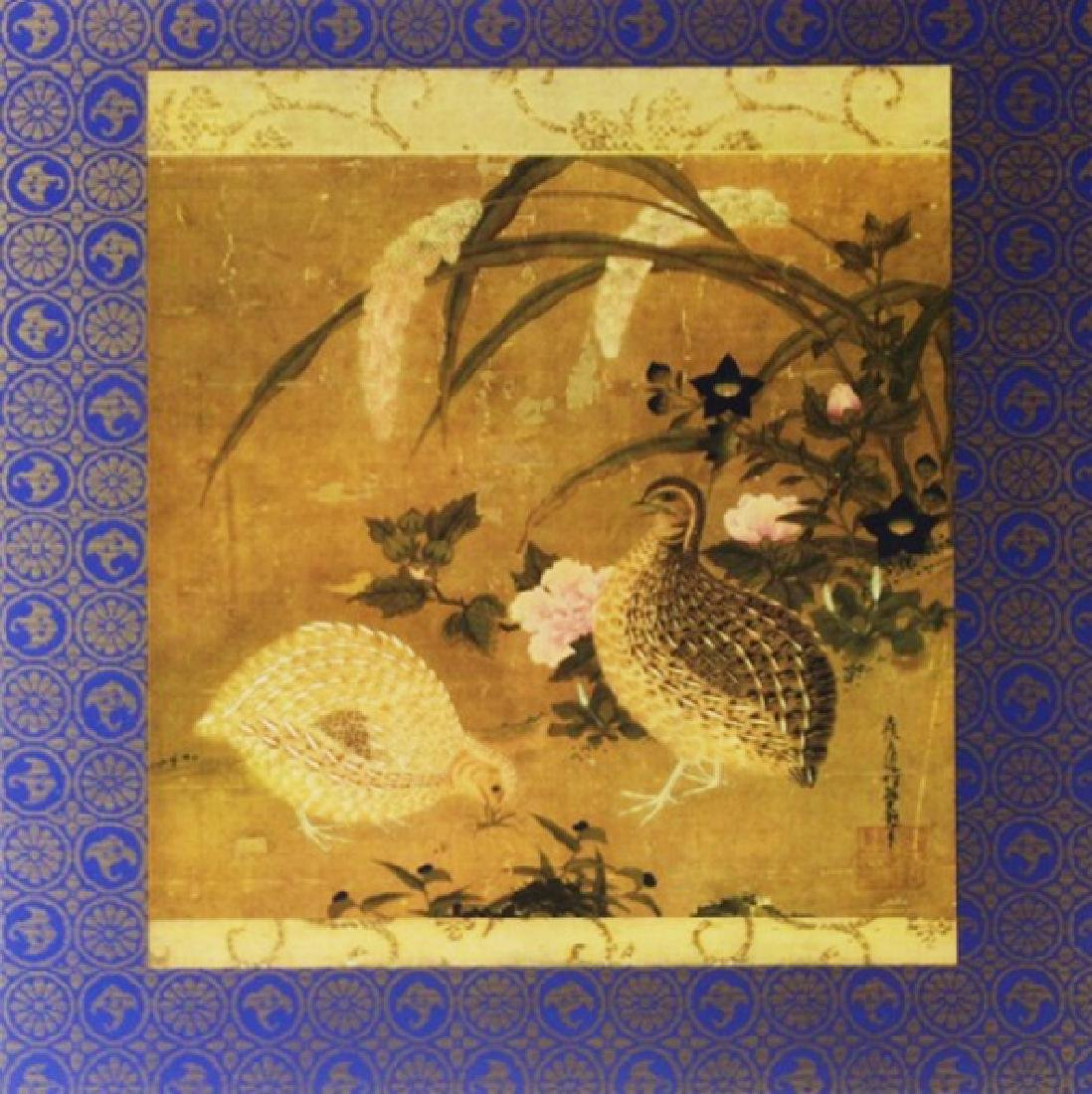 Signed Lithograph Tosa Mitsuoki - Quails & Flowers