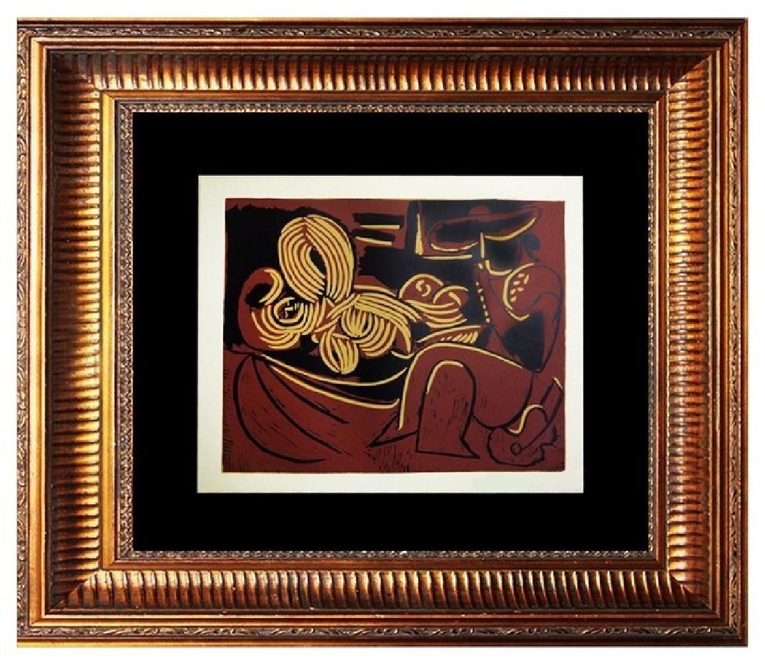 Signed Picasso Linocut Homme a la Guitare