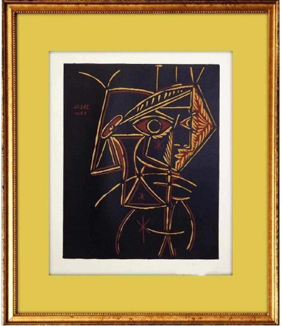 Signed Picasso Linocut Femme Buste