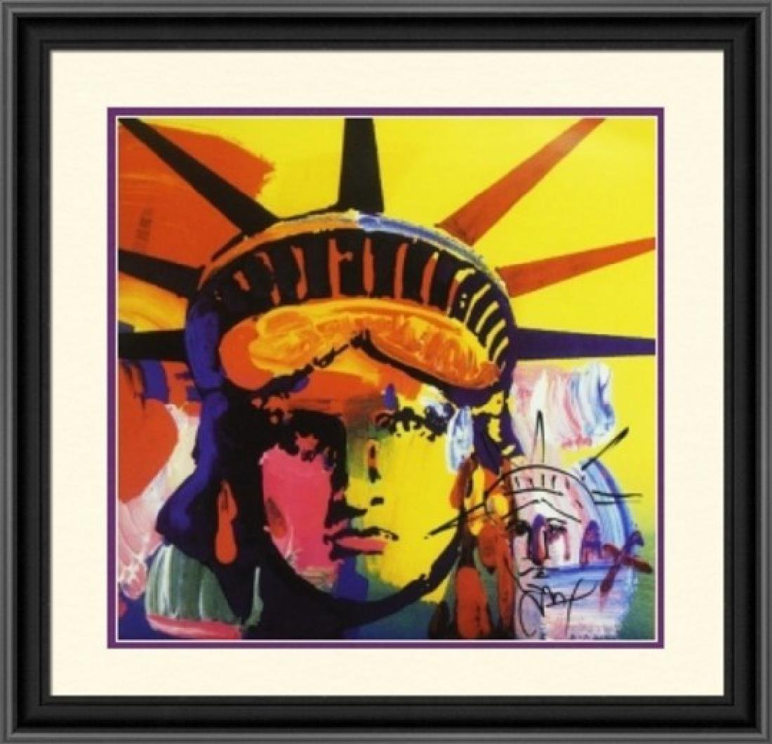 Hand Signed Peter Max Mixed Media - Liberty Head