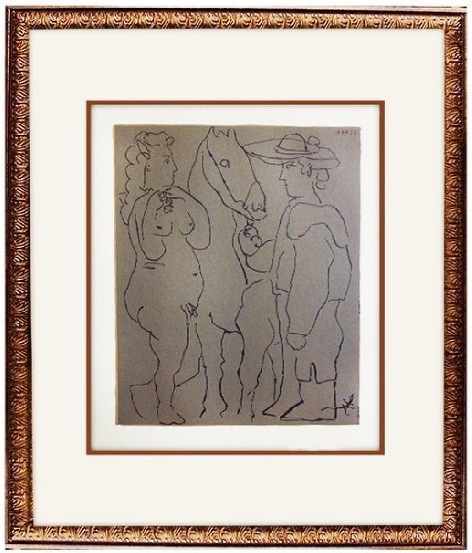 Signed Picasso Linocut Picador, Woman, and Horse