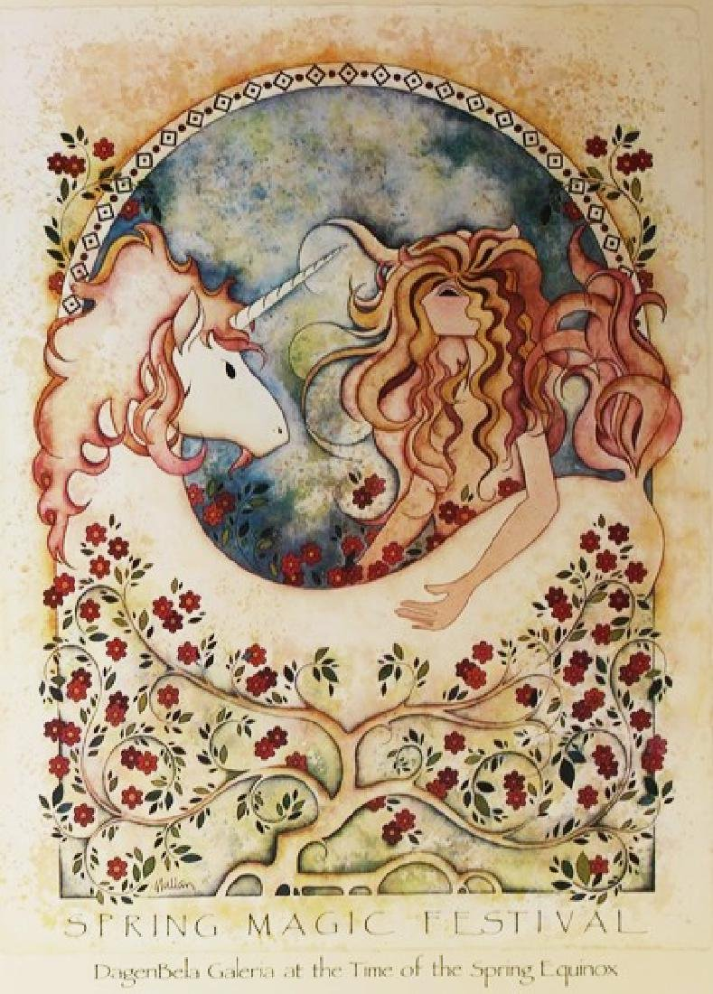 Signed Fine Art Print G.E. Mullan - Maiden with Unicorn