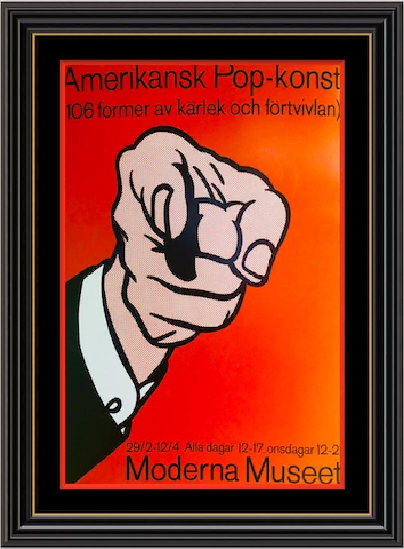 Finger Pointing by Roy Lichtenstein -Pop Art Silk
