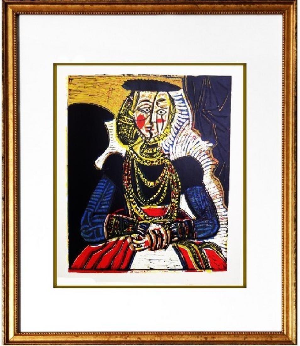 Signed Picasso Linocut Buste de Femme