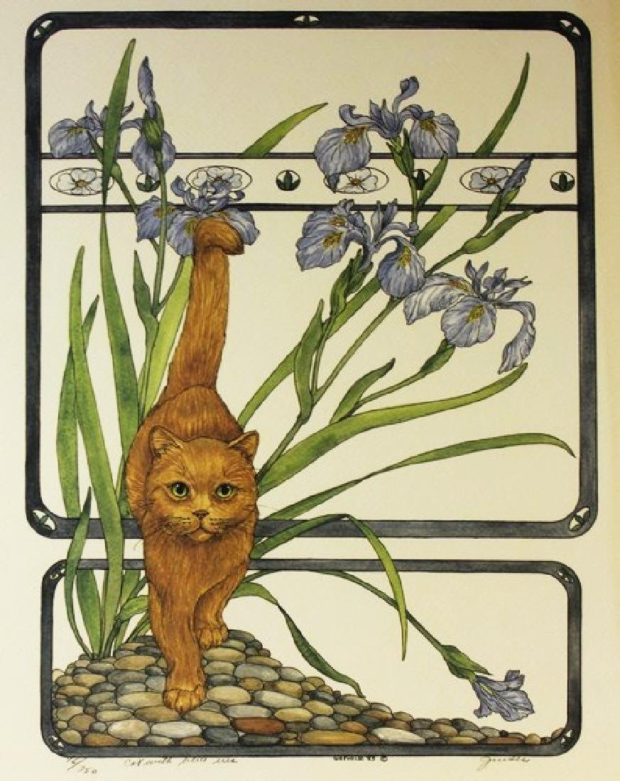 Hand Signed Ltd Ed Gervaise Cat with Blue Iris
