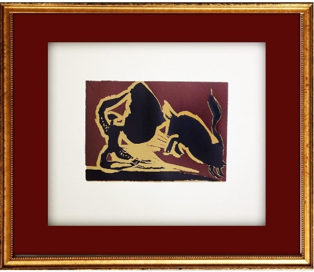 Signed Picasso Linocut Bull Charging Cape