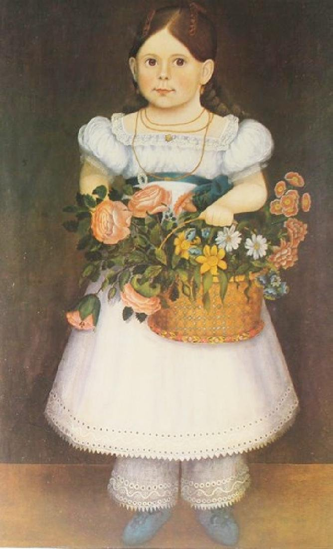 Lithograph Girl with Flower Basket 1830