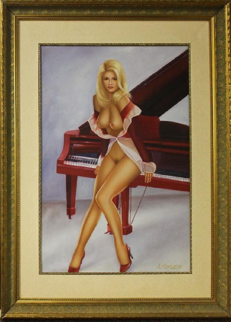 Nude Model with Red Piano, Oil 48x36
