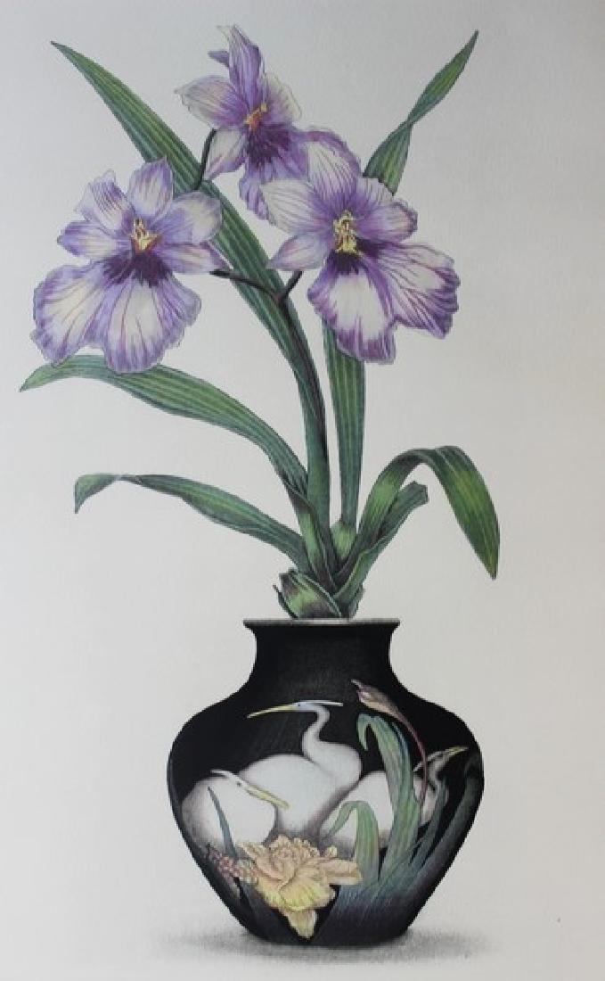 Hand Signed Ltd Ed Etching Floral V