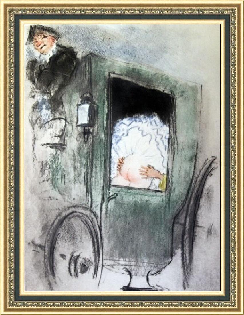Original Etching Louis Icart - In The Coach