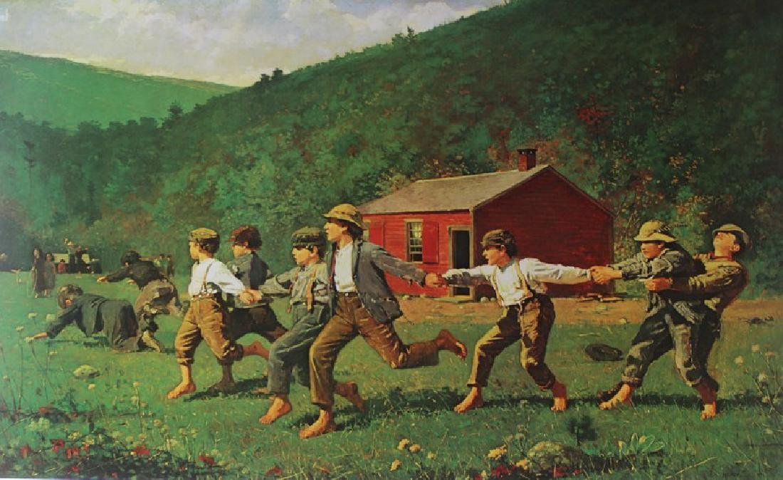 Signed Lithograph by Winslow Homer - Snap The Whip