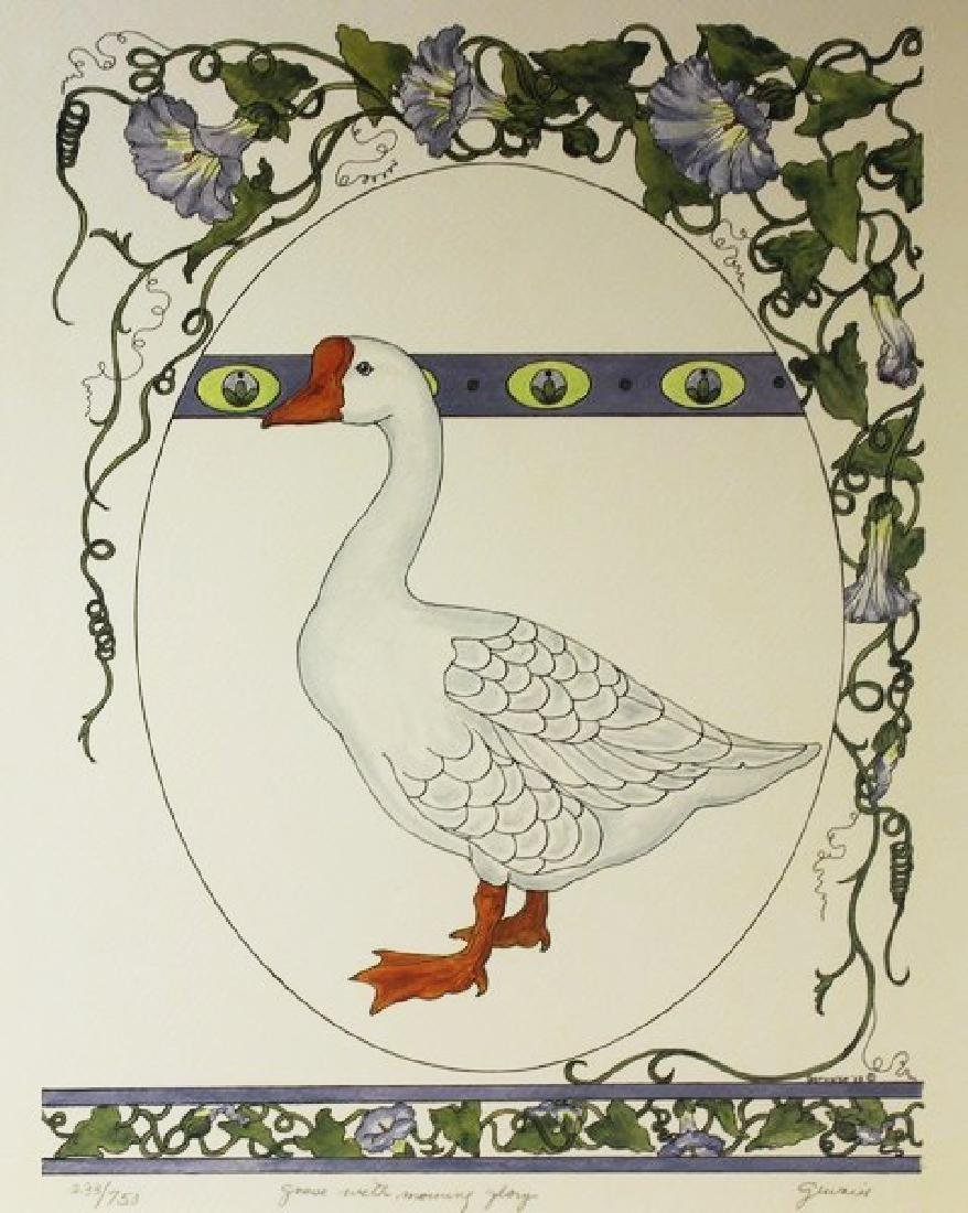 Hand Signed Ltd Ed Gervaise - Goose with Morning Glory