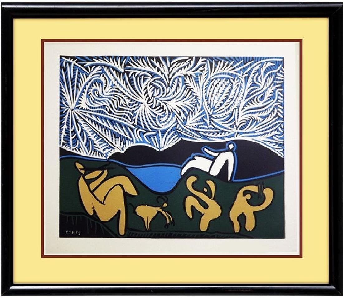 Signed Picasso Linocut Bacchanale