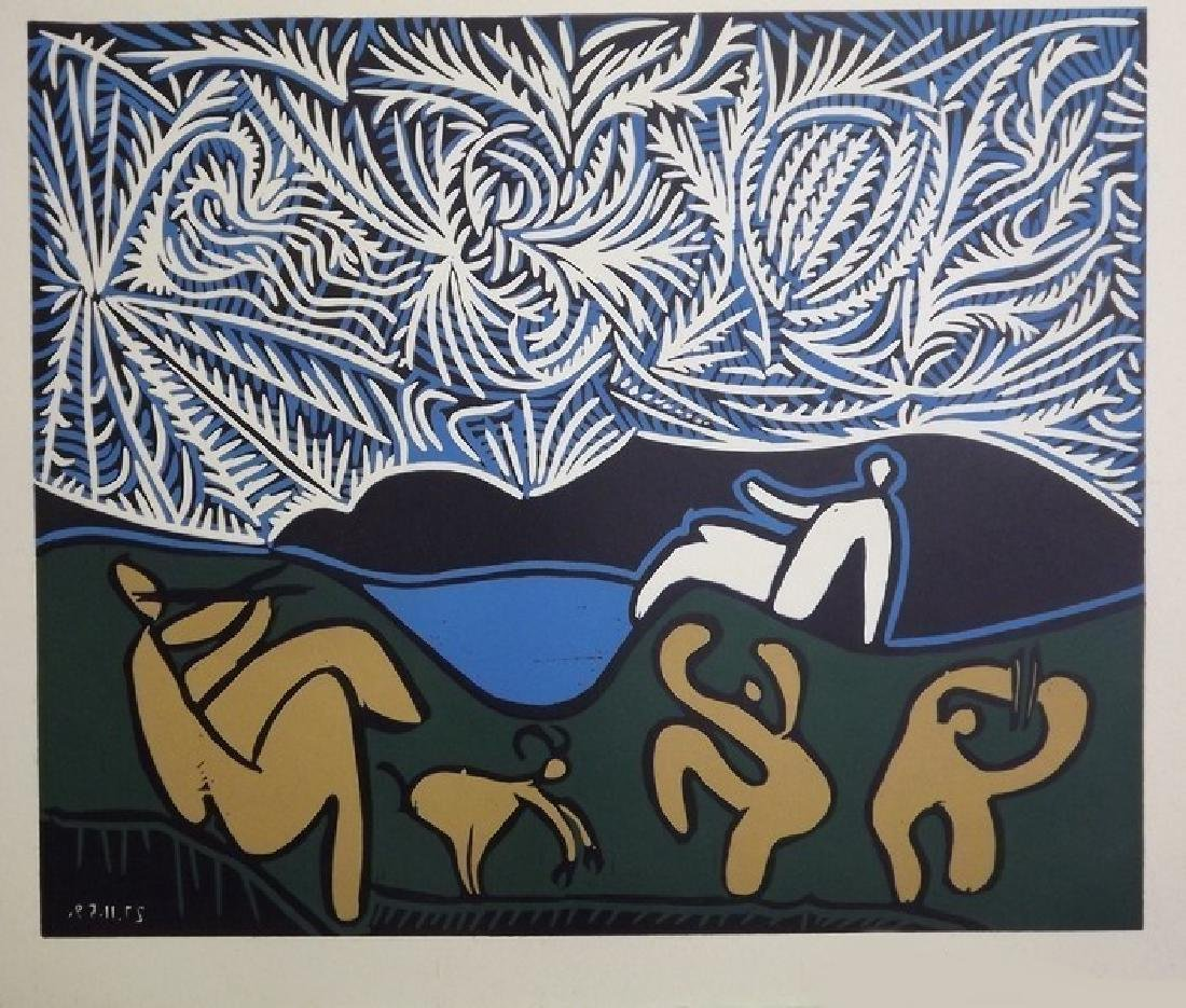 Signed Picasso Linocut Bacchanale - 2