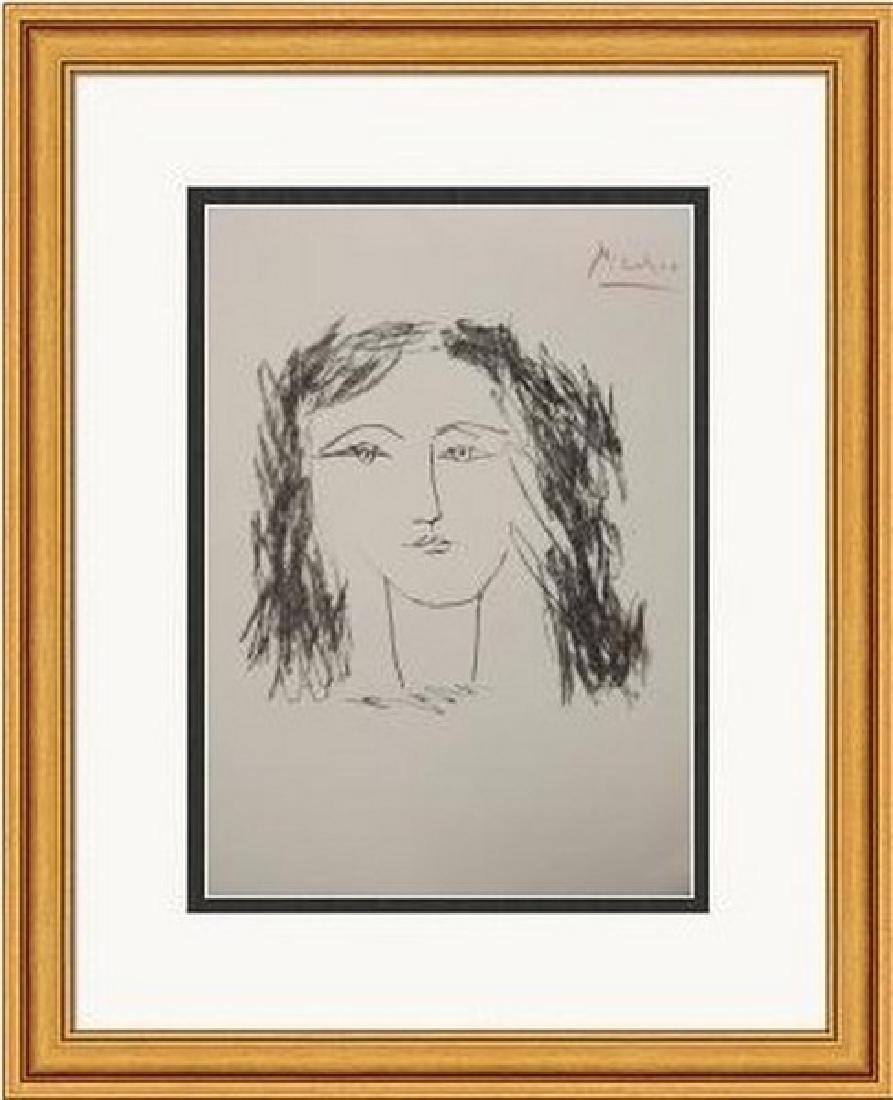 Signed Pablo Picasso Tete de Femme de Face Lithograph