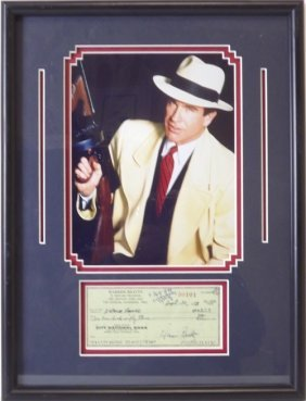 Warren Beatty Memorabilia W/ Check