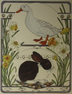 Bunny & Duck With Daphodiles - Gervaise
