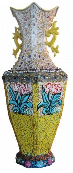Hand Painted Vase w/ Jewels by WM Verdult