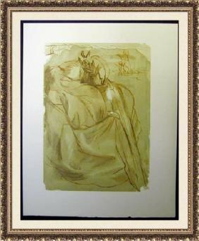 Hand Signed Salvador Dali Woodblock - Dante's
