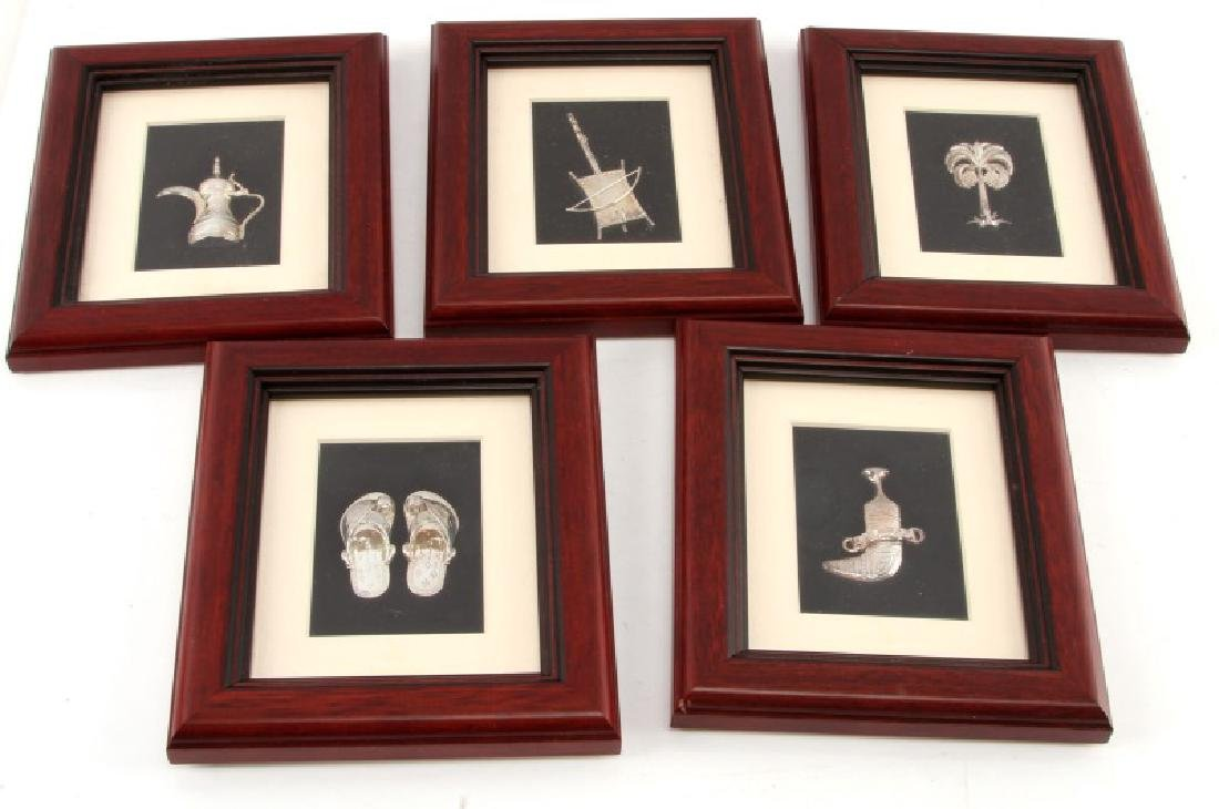 LOT OF FIVE FRAMED TURATHUNA SILVER WALL HANGING