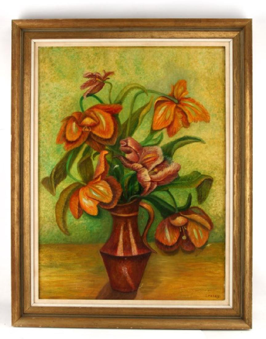 GOLDIE PALEY OIL ON CANVAS FLORAL STILL LIFE, 1967